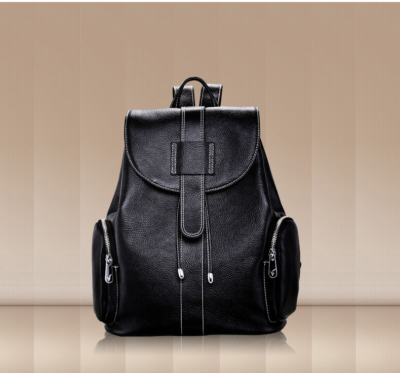 2017 Luxury Top Quality Thread Design Women's Backpack Classical Black Laptop Backpack 100% Real Leather Lady Travel Bagpack