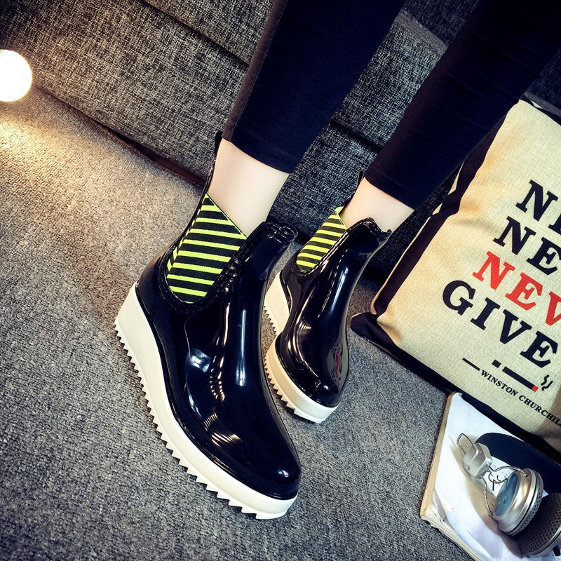Womens Non Slip Wedge Ankle Rain Boots Short Botas Mujer Comfortable Walking Waterproof Rain Shoes For Lady Height Increasing<br><br>Aliexpress