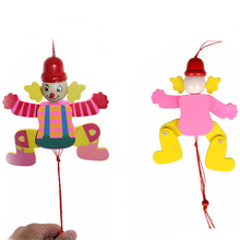 Hot 1 Pc Color Kids Cute Cartoon Wooden Pull String Puppet Clown Toys Children Funny Marionette Classic Joint Activity Doll 2016