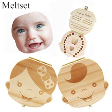 Wooden Kids Baby Tooth Box Organizer Milk Teeth Wood Storage Box for Boy Girl Save Teeth Umbilical Cord Lanugo