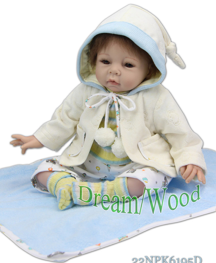 New 55cm Silicone Reborn Baby Doll Emulational Lovely Vinyl Body Little Doll Home Early Education Doll Brinquedos Children Gifts<br><br>Aliexpress