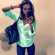 New Women Clothings Women Shirt Spring Summer V-neck Long Sleeve Blouses Pure Color White Green Lady Work Office Slim Shirt Tops