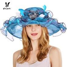 Vibiger mujeres sol sombrero gorra de moda organza verano floral Ruffles  Beach sombrero ladie grande ancho BRIM Tea Party boda S.. dbbe27866e7