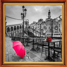Diamond Embroidery Landscape 5D Diy Diamond Painting Pictures Of Crystals Paris Street Red Umbrella Pictures By Numbers Mosaic