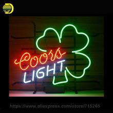 Coors Light Shamro Neon Sign Decorate Glass Tube Deer Neon Bulbs Recreation Room Handcraft Indoor Frame Sign Store Display 17x14(China)