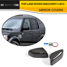 DRY Carbon Fiber Car Door Side Wing Mirror Covers For Land Rover Discovery 4 2013 Add On Style(China)