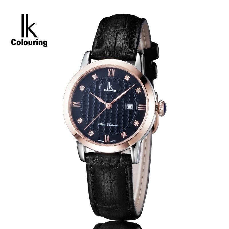 Luxury IK Coloring Relogio Feminino Womens Hardlex Crystal Day Quartz Watches Waterproof Wristwatch Orignial Box Free Ship<br>