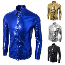 Fashion Trend Night Club Wear Men's Slim Fit Metallic Shiny Shirt Mens Hot Party Shirts Long Sleeve Dress Shirts(China)