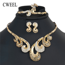 CWEEL African Beads Jewelry Set Indian Bridal Jewelry Sets Cheap Womens Costume Jewellery Wedding Vintage Necklace Earring Set(China)