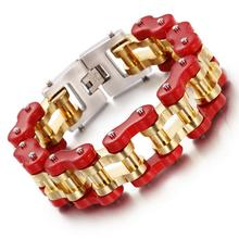 23cm*22mm Huge Heavy Gold Red Tone Bike Motorcycle Chain Bracelet Bangle Biker Strong Men's Stainless Steel Party Cuff Jewelry