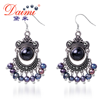 Daimi 5-6mm Noir Perle D'eau Douce et Agate Vintage Boucles D'oreilles En Gros Prix