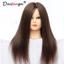 "2017 New 18"" 90% Real Human Long Hair Model Hairdressing Practice Training Head Mannequin With Free Clamp Free Shipping"