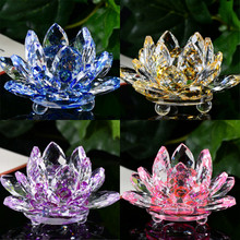 Lotus Crystal Glass Figure Paperweight Ornament Feng Shui Decor Collection Figurines Home Wedding Party Decor Gifts Souvenir(China)
