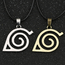 Naruto Necklace Leaf Konoha Village Symbal Logo Sign Ninja Antique Silver Bronze Pendant Vintage Anime Jewelry Cosplay Wholesale(China)