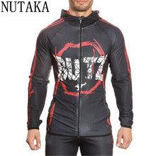 2017 NUTAKA Gyms clothing Sporting Hoodies men hoodies sweatshirt belt patchwork Muscle Brothers man hoodies sportwear