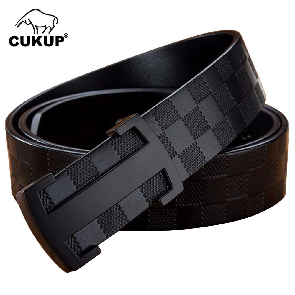 CUKUP Top Unique Block Pattern Cowskin Cowhide Mens Male Black Letter Smooth Buckle Men's 33mm Wide Belt Men NCK602