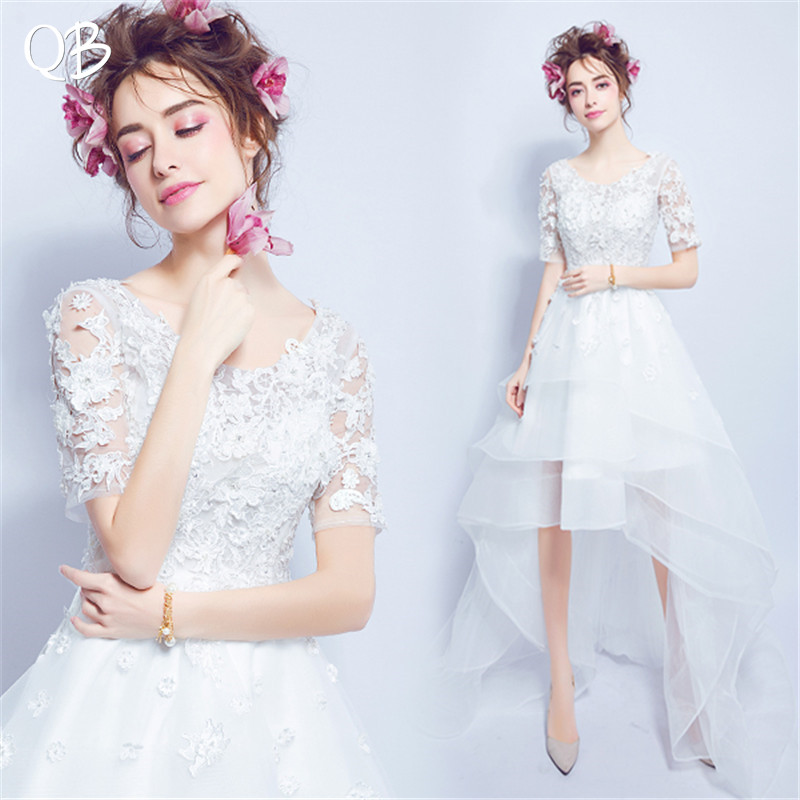 High Low Half Sleeve Tulle Lace Flowers Pearls Sexy Formal Wedding Dress 2019 New Fashion Bridal Dresses Wedding Gowns WE29