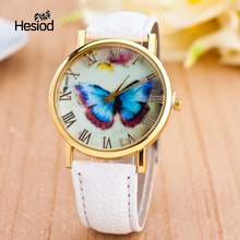 Butterfly Leather Quartz Wristwatch Women's Clock Relojes Mujer Dress Ladies Watch Business White Pink Blue Black Elegant Gift