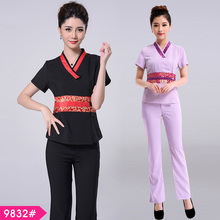 (3 suit get 10% off) Thai restaurant waiter purple health service beautician foot SPA clothing beauty salon work clothes uniform