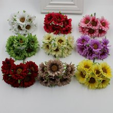New 36 pieces / batch Daisy Flower Sunflower Artificial Silk Wedding Bouquet Diy Decorative Scissors Handmade Garland