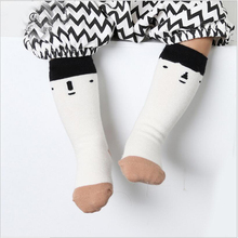 Baby boy Socks Knee High socks With humor emotion face Socks anti-slip toddler kids Long Tube Booties calcetines(China)