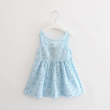 New Spring Autumn Cotton Blue Dandelion Sleeveless Dresses Cute Girls Dresses For Party Costume For Kids Clothes Vestidos T(China)
