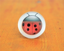 10pcs 20mm/25mm Ladybug Pattern Dome Round Flatback Photo Glass Cabochon DIY Handmade Accessories Crafts Material G-0148(China)