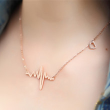 N681 Clavicle Pendant Nekclaces Choker Fashion Jewelry For Women ECG Heart Necklace Heartbeat Collares 2017 Super Deal