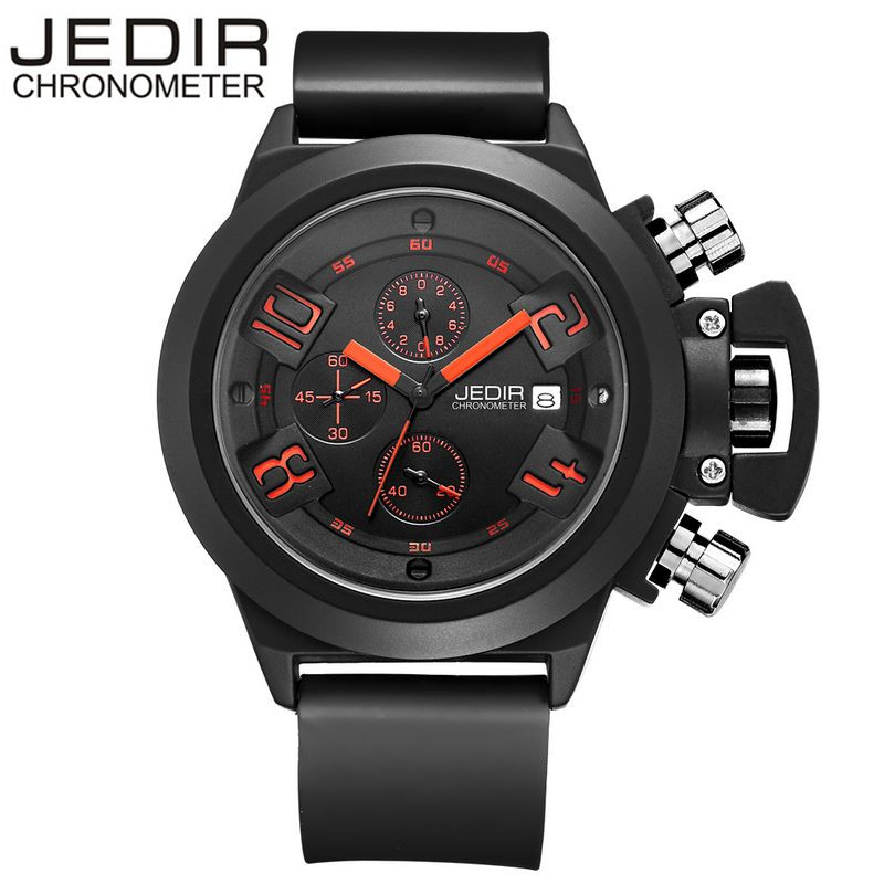 2017 JEDIR Brand Military Watch Waterproof 30 Meters Silicone Band Quartz Watch Mens Fashion Sports Watches Gift Box Free Ship<br><br>Aliexpress