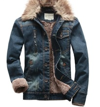 Denim Jacket Fur Collar Men Moto Ripped Jeans Jacket Men Vantage Fashion Winter Uomo Coat Denim with Fleece Warm Jaqueta Blue(China)