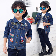 The New 2016 Personality Children Children In Children's Coat Boys Fall Clothing Label Denim Jackets Children's Clothes