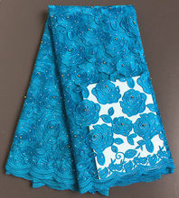 Turquoise blue African tulle lace french net lace fabric 5 yards per piece 9239 with shine stones beads Hot sale