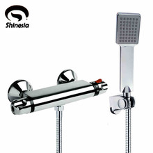 NEW Shower Faucet Set Bathroom Thermostatic Faucet Chrome Finish ABS Handheld Shower Wall Mounted