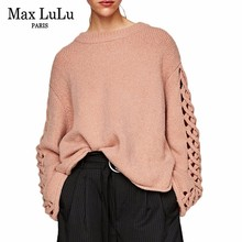 Max LuLu Famous Brand Sweet Girls Knitted Knitwear Women's Pink Sweater Fashion Ladies Winter Pullovers Oversized Pull Clothing