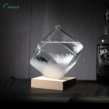 Creative Weather Forecast Crystal Gourd and Cube Storm Glass Bottle Transparant Unique Gifts Glass Crafts Tabletop Decoration(China)