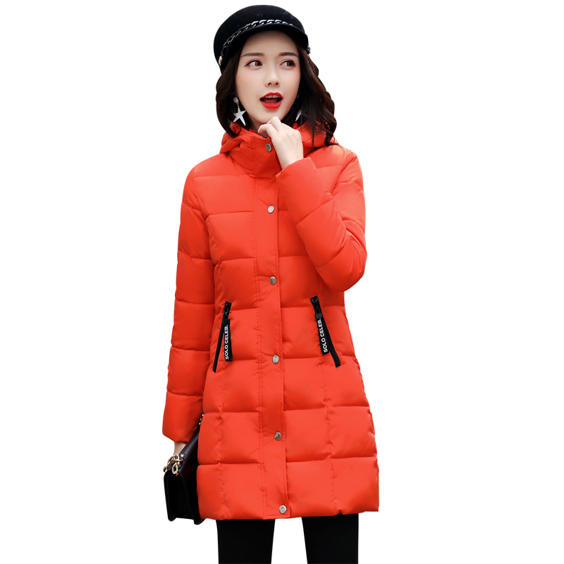 New Women Padded Jacket Casaco Feminino 2017 Winter Slim Medium-long Coat Long Sleeved Hooded Plus Size Black Parkas MujerÎäåæäà è àêñåññóàðû<br><br>
