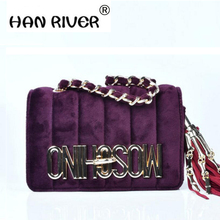 HANRIVER Classic fashion Woman Velvet Crossbody Bag Luxury Women Handbags Purse Designer Shoulder Velour Handbags hot selling(China)