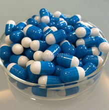 (10,000pcs/pack) Size 00# Blue/White Color Fake-proof size 00#B squab empty capsule,short 00# empty capsule 00B# stocky capsules