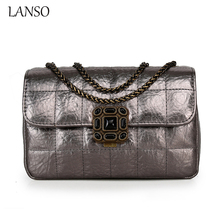 Famous Brand Design Luxury Real Sheepskin Chain Messenger Bag CC Plaid Diamond Evening Party Clutch Wedding Purse Gold Flap(China)