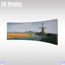 Exhibition Booth Portable 20ft C-Shaped Advertising Tension Fabric Backwall Display Stand With Double Side Banner Printing