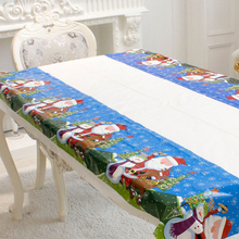 1Pc Colorful Printed Christmas Tablecloth Xmas Table Runner Christmas Tree And Bells Design TableCloth New Year Atmosphere Decor