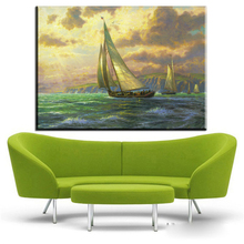 ZZ441 thomas kinkade paintings on canvas sailboat seascape canvas pictures oil art painting for home decor canvas prints art(China)