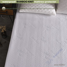 waterproof Bamboo Knit Jacquard mattress Protector Jacquard cloth mattress cover 100% Waterproof W014 with bamboo cool fiber A