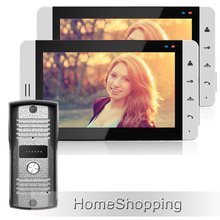 "FREE SHIPPING Home phone Wired 7"" TFT LCD Video DoorPhone Intercom System With 2 White Screens + Metal Outdoor Camera IN STOCK"