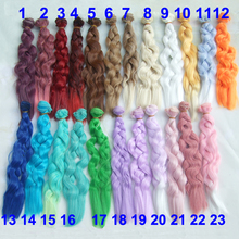 Factory wholesales 25cm long curly BJD doll hair rainbow color wavy thick doll wigs(China)