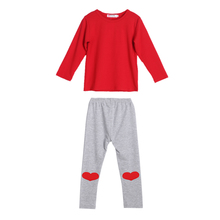 Kids Baby Boys Girls Long Sleeve T-shirt Tops Heart Print Pants Outfit Set Fashion Outfit Clothing  Set 3 to 18 Months