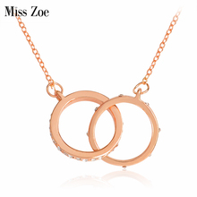 Miss Zoe Crystal Starburst Link Necklace Double Loop Rhinestone Pendant Necklace Rose Gold Simple Jewelry Gift for Women
