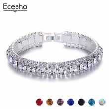 Silver Color Crystal Bracelets For Women Multicolor Charm Hand Chain Link Bracelet Femme Rhinestone Strass Girl Christmas Gift(China)