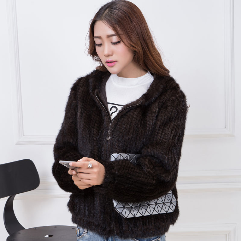 knit mink fur coat brown 1