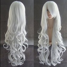 "32"" 80cm Long Curly Wavy Cosplay Costume Wig Fashion Women Sexy Party Wig Silver White Halloween Christmas Peruca Pelucas"